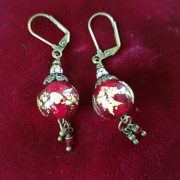 Vintage glass bead and brass earrings